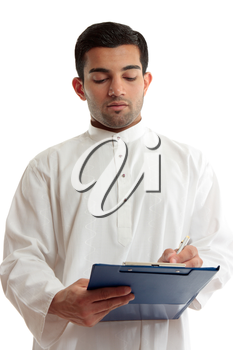 A traditional dressed arab or middle eastern south asian businessman or salesman writing in a blue clipboard folder.