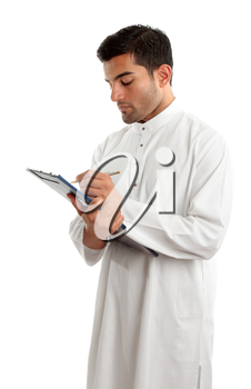 A traditionally dress middle eastern man writing in a clipboard folder.  White background.