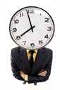 Fish-eye of businessman standing with crossed arms and clock instead his head