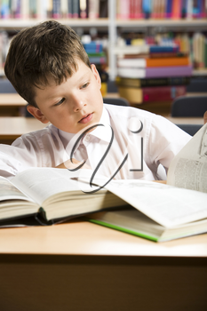 Portrait of clever boy in white shirt reading book