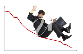 Creative photo of troubled businessman sliding down upon graph