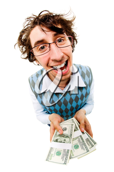 A tousled cheerful man holding dollar batches