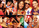 Collage of happy friends toasting and enjoying themselves at party