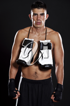 A portrait of a hispanic male boxer