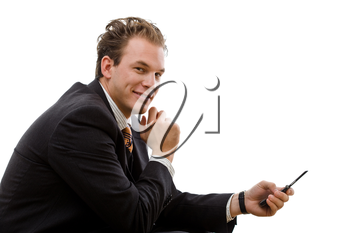 Businessman sending SMS on cellphone, isolated on white background.