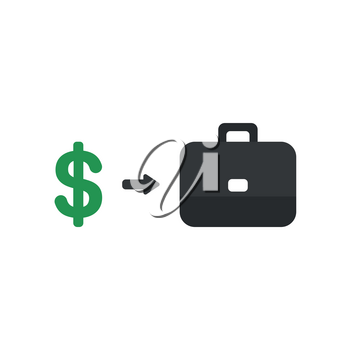 Flat design style vector illustration concept of green dollar symbol with an arrow pointing black briefcase icon on white background.