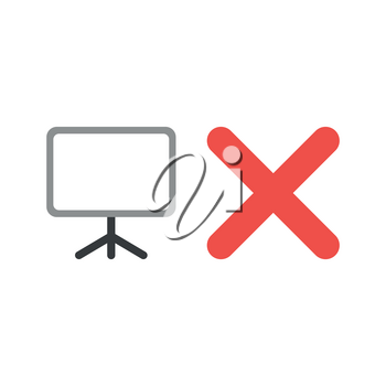 Vector illustration icon concept of blank presentation chart with x mark.