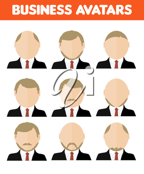 Set of business avatar of businessman with different hairstyles in flat design