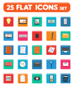 Set of office and business work elements in flat design. Web design objects, strategy, business, office and marketing items icons. Set of 16 business item icons in flat design style