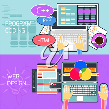 Flat design concept of program coding and web design