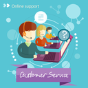 Customer service representative at computer in headset. Online support. Cartoon phone operator. Individual approach. Support centerand. Customer support interactivity in flat design concept