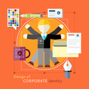 Corporate identity concept. Design of human resources. Man with lots of hands. Concept in flat design style. Can be used for web banners, marketing and promotional materials, presentation templates