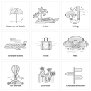 Set of thin lines black icons on white. Traveling, summer vacation, journey. For web site construction, mobile applications, banners, corporate brochures book covers layouts