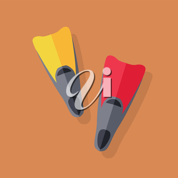 Yellow and red flippers for diving. Vector illustration