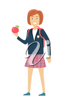 Schoolgirl in blue jacket and a purple skirt. Smiling girl in school uniform with apple and backpack. Stand in front. Schoolgirl isolated character. School personage. Vector illustration.