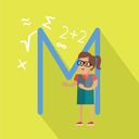 Science alphabet vector concept. Flat style. ABC element. Female character in glasses surrounded mathematical symbols, letter M behind. Educational glossary. On yellow background with shadow