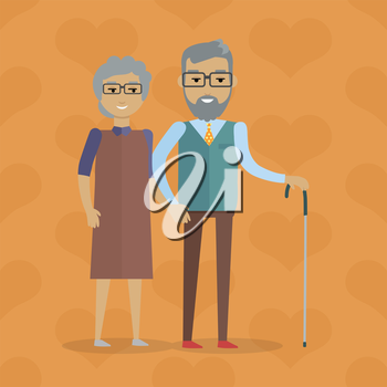 Elderly couple vector illustration. Flat design. Gray-haired smiling grandparents walking holding hands. Strong and lasting relationships. Deep human affection. For happy retirement concept. On orange