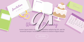 Wedding planning web banner. Preparation for the wedding day. Getting ready to the marriage ceremony. Planning everything ahead. Choosing the date, place, decoration, restaurant menu. Vector