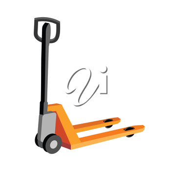 Hydraulic trolley jack with heavy boxes with goods. Buying building materials in supermarket with hand pallet truck. Delivering overall goods. Flat design illustration for ad and concepts
