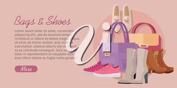 Bags shoes vector concept. Flat style. Collection of womens footwear and clutches. Ankle and mid boots, sneakers, loafers, leather bags with handles illustrations. Fashion accessories. For store ad