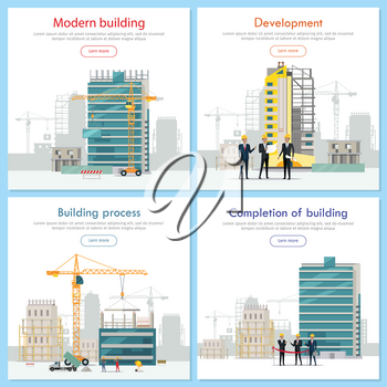 Modern building. Development. Building process. Construction. Completion of building. Stages of house building. Construction of residential houses banners set. Big building area. Vector illustration