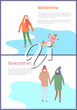 Wintertime couple walking outdoors during winter season vector. Mother with child sitting on sledges holding shovel for kids. Seasonal activities