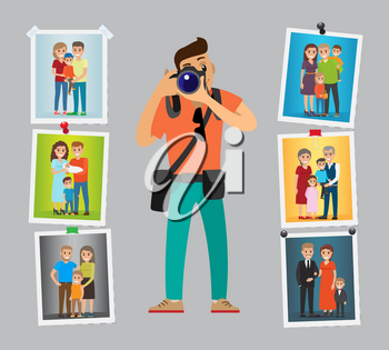 Family photographer with digital camera taking photo. Man making pictures of parents, grandparents and children. Samples of his work hanging on wall vector
