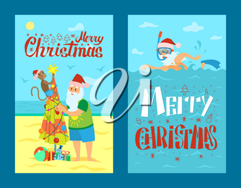 Merry Christmas, Santa Claus and monkey decorating umbrella as New Year tree. Saint Nicholas on rest swimming in scuba diving mask in sea or ocean, vector