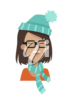 Happy smiling girl with short brown hair in square glasses, blue hat with pom-pom and blue striped scarf isolated on white background. Girl avatar cartoon character. Flat style. Vector illustration.