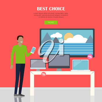 Best choice concept. Smiling man in green shirt standing near counter of electronics store. People shopping, marketing people, customer in mall, retail store illustration. People in market interior.