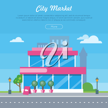 City market near the road banner. Flat design supermarket general store, shopping mall and fashion store icon. Marketing, supermarket shelf aisle. Building with big windows. Vector illustration