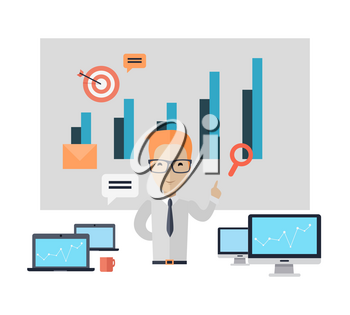 Business training at office banner. Banner successful young man with glasses mentor consultant, coaching and shows business charts and graphs. Success growth data information. illustration