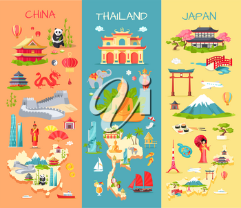 Collection of three asian countries. China. Thailand. Japan. Specific features of each country. Panda, long wall, dragon, statues. Elephant, modern building Buddha ship Mountain sushi Vector