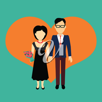 Couple in love banner. Man and woman, boy and girl holding hands and bouquet of flowers. In the background of the heart silhouette. Romantic banner flat together male and female, vector illustration
