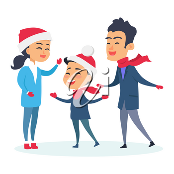 Happy family in warm clothes on white. Vector illustration of family with child who wear Christmas red hats. Preparation to celebration of holidays. Worn in coats, woolen pants, scarf and gloves