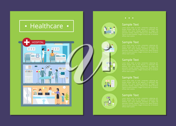 Healthcare medical services representation with hospital building with doctors, surgeons and nurses. Vector illustration with posters on green background