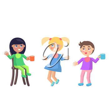 Playful toddlers in baby bibs icons. Cute little boys and girls with cups seating on chair, standing and jumping isolated flat vector. Children drinking milk illustration for kids nutrition concepts