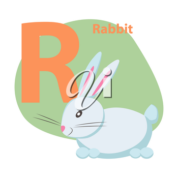 Children ABC with cute animal cartoon vector. English letter R with funny rabbit flat illustration isolated on white background. Zoo alphabet with pet and caption for preschool education, kids books