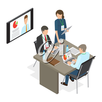 Business people at table deciding working issues. Vector illustration of man working on laptop with diagrams, woman standing at desk, business news showing on plasma TV in office, coaching concept