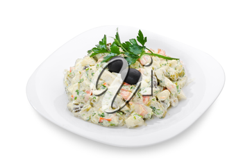 portion Russian salad Olivier, isolated on white.object with clipping paths