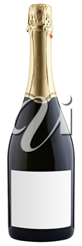 closed bottle of champagne isolated on white background, clipping paths