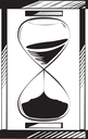 Hourglass enclosed in a case with sand running through the bulbs with the top depleted halfway measuring the passing time on a deadline, hand-drawn vector illustration