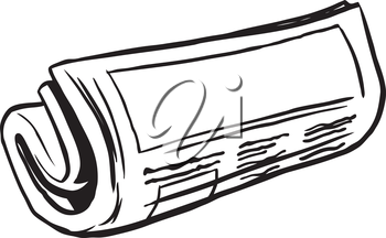 Rolled newspaper with blank header space, hand-drawn vector illustration