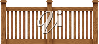 A wooden fence on a white background