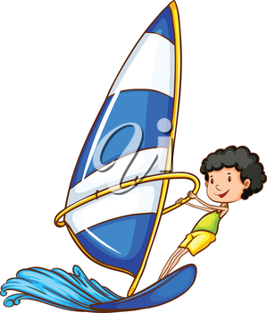 A coloured sketch of a boy enjoying the watersport on a white background