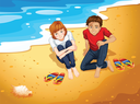 Illustration of a couple sitting on the beach