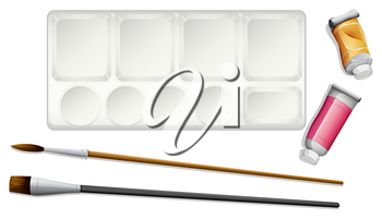 Illustration of the materials used in painting on a white background