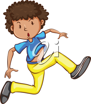 Illustration of a sketch of an energetic hiphop dancer on a white background