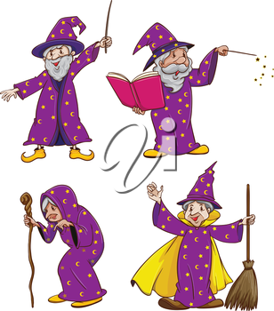 Illustration of the four witches on a white background