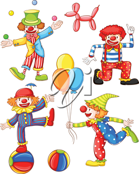 Illustration of a simple coloured drawing of the four clowns on a white background